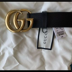 Woman's Gold buckle GG black leather